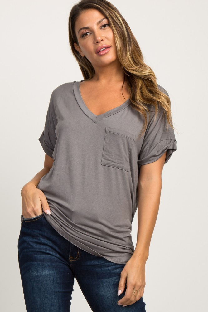 charcoal grey basic v-neck pocket top