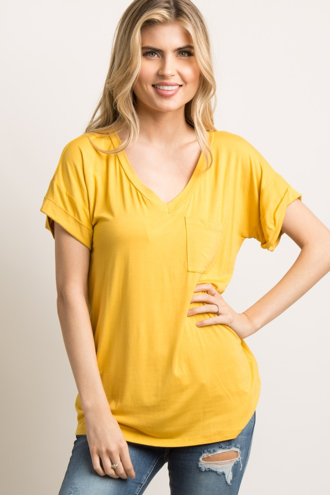 mustard yellow pocket tee shirt
