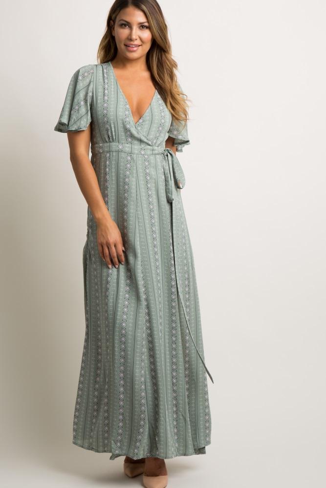 f8bf9b74cc Mint Printed Chiffon Wrap Tie Maternity Maxi Dress