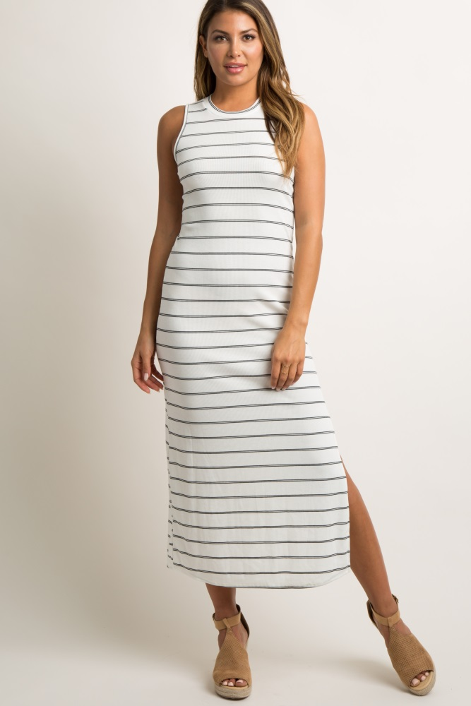 349df05cf2 White Striped Sleeveless Ribbed Side Slit Maxi Dress