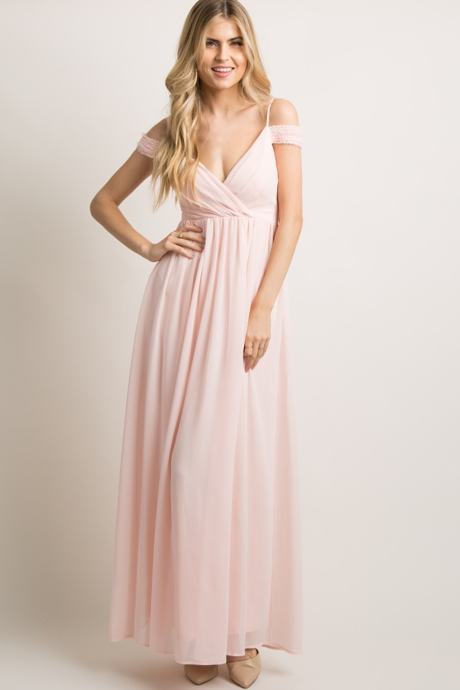 d3a01c8b98 Pink Beaded Off Shoulder Chiffon Maternity Gown