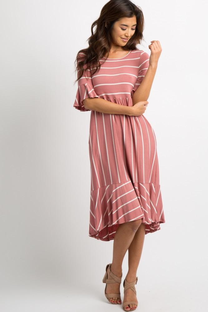 f7557957325 Mauve Striped Ruffle Trim Dress