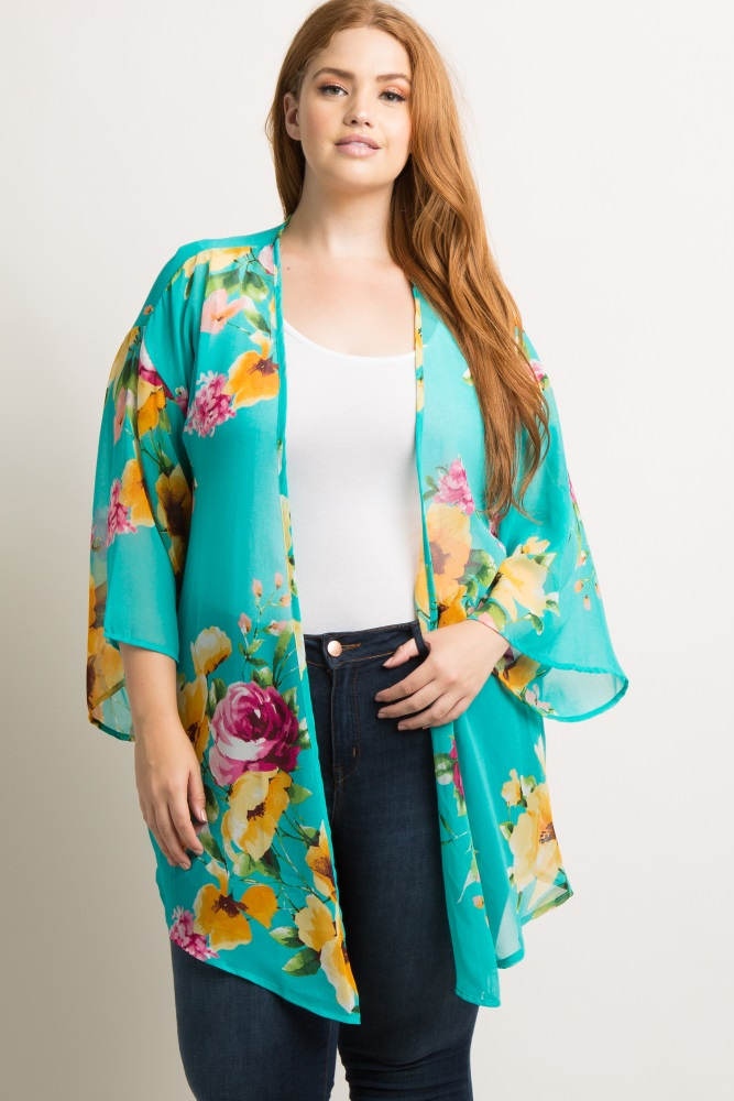 36bf721124a Turquoise Floral Chiffon Wide Sleeve Plus Maternity Kimono