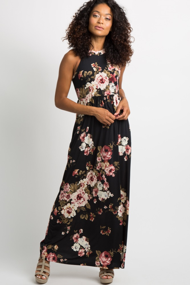 1528447cc96 Black Floral Halter Neck Maternity Maxi Dress