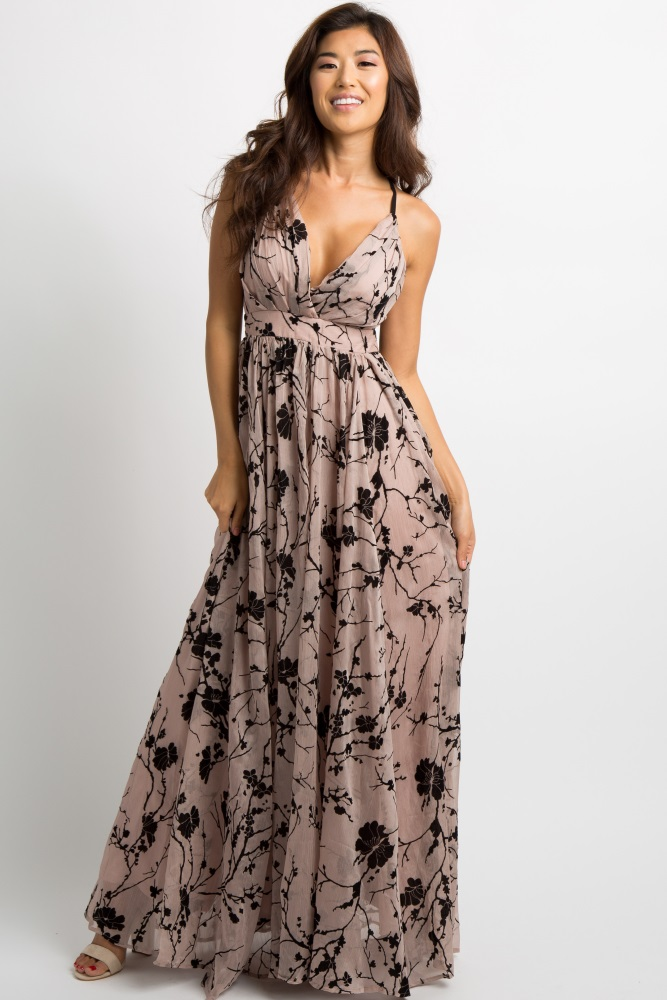 a2a9466479a695 Beige Floral Velvet Overlay Maternity Maxi Dress