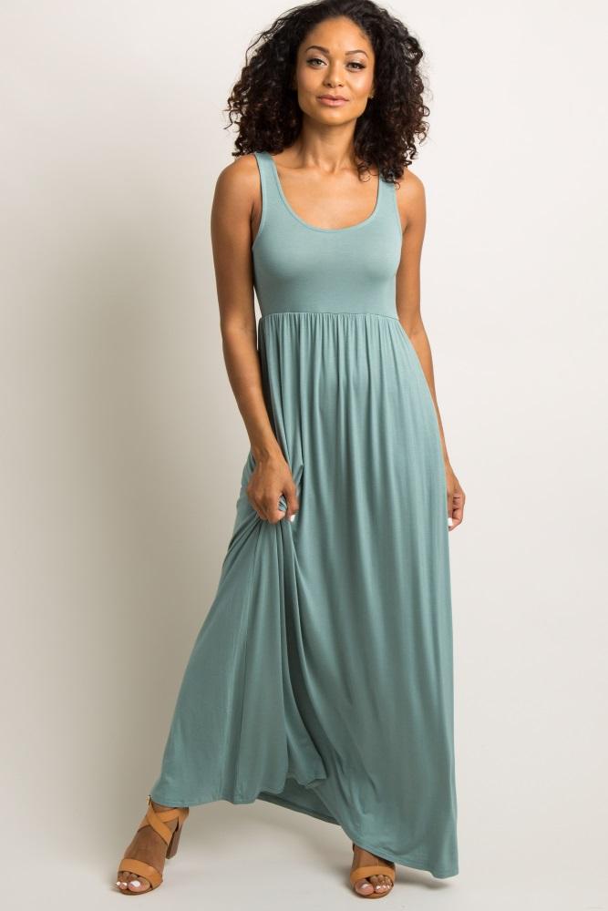olive solid sleeveless maxi dress