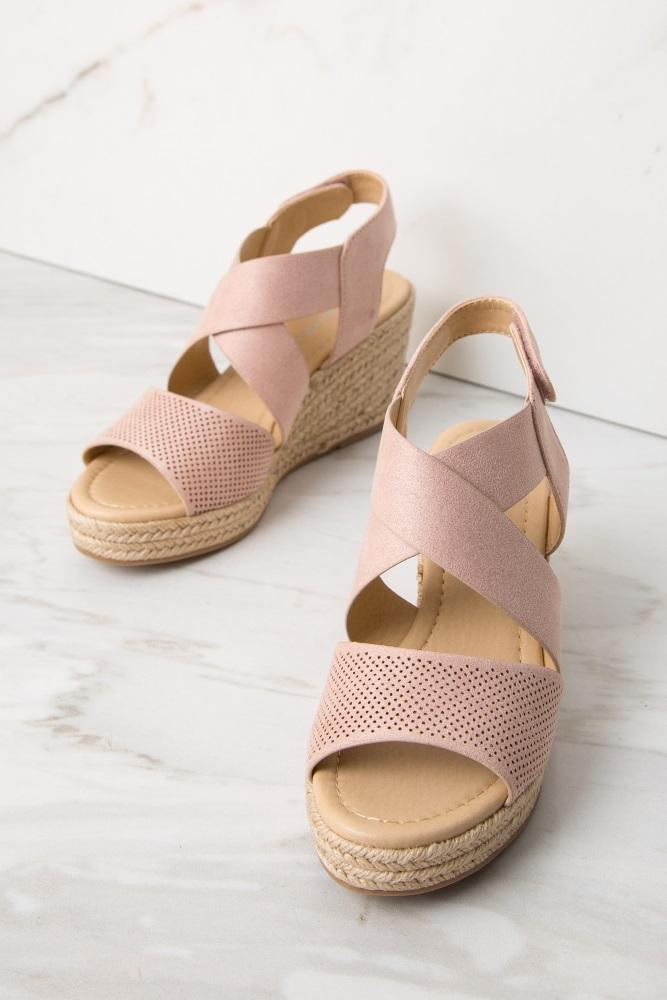 0a5c20382 Light Pink Faux Suede Velcro Strap Espadrille Wedges