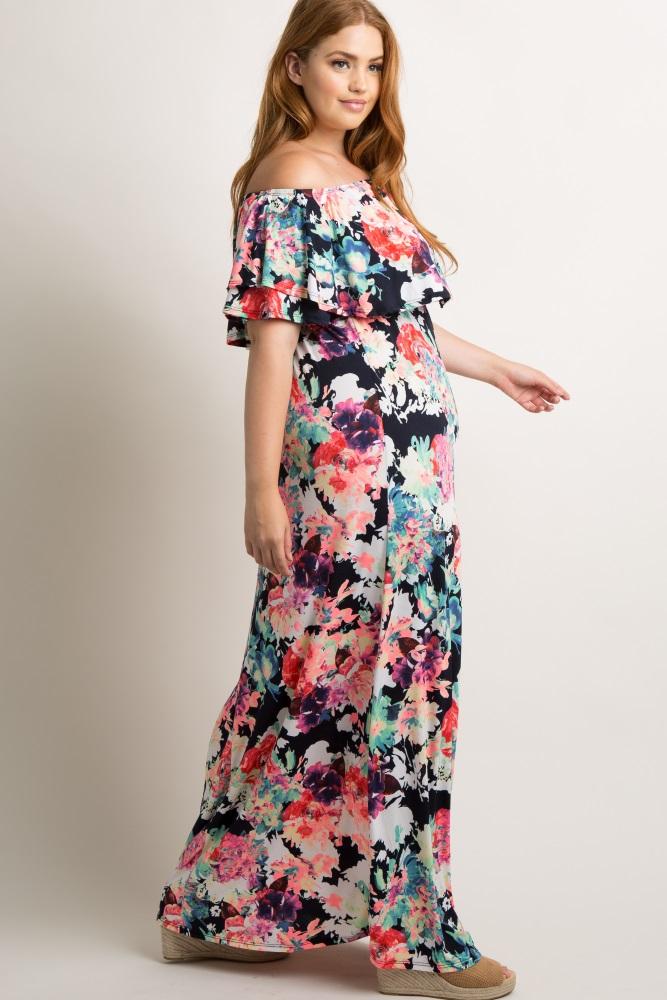 484c308a2f1 Navy Neon Floral Flounce Off Shoulder Maternity Plus Maxi Dress