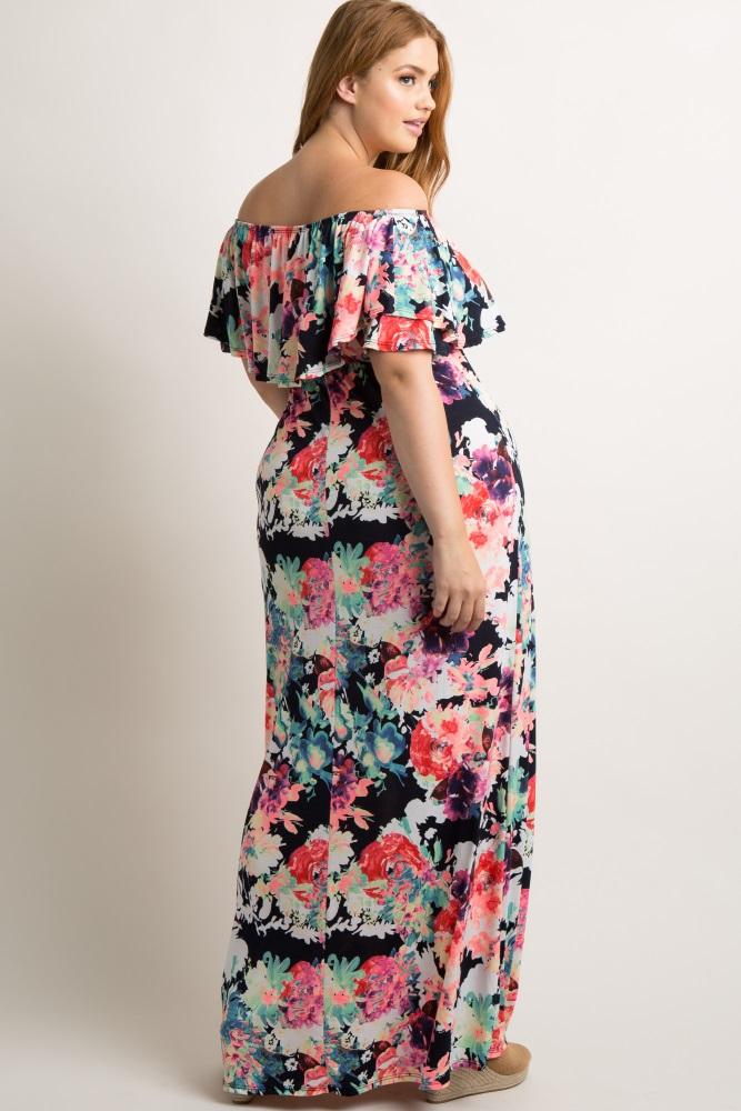 af8c96eac4a8 Navy Neon Floral Flounce Off Shoulder Maternity Plus Maxi Dress