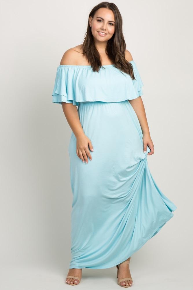 264580f2080 Aqua Off Shoulder Flounce Maternity Plus Maxi Dress