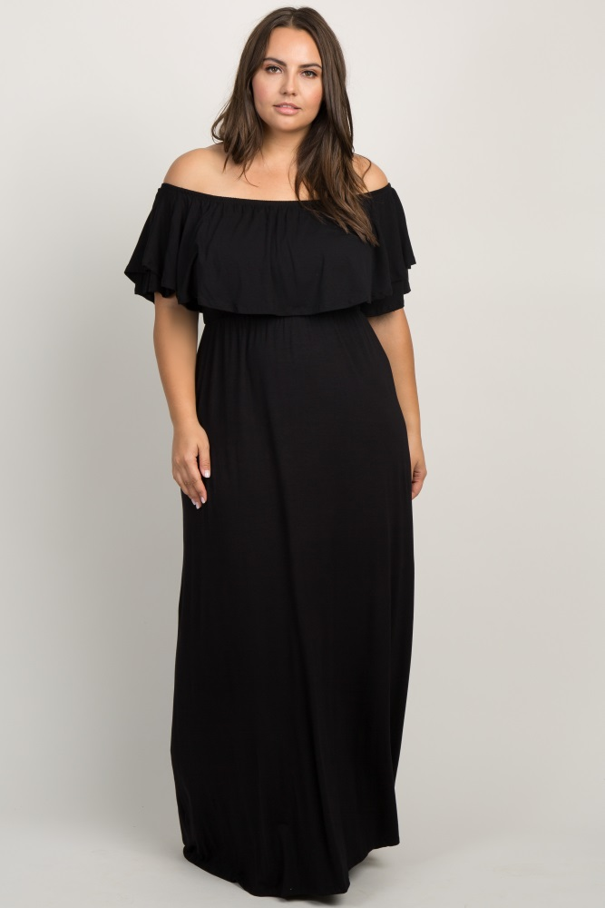 790e9b9612512 Black Off the Shoulder Flounce Maternity Plus Maxi Dress
