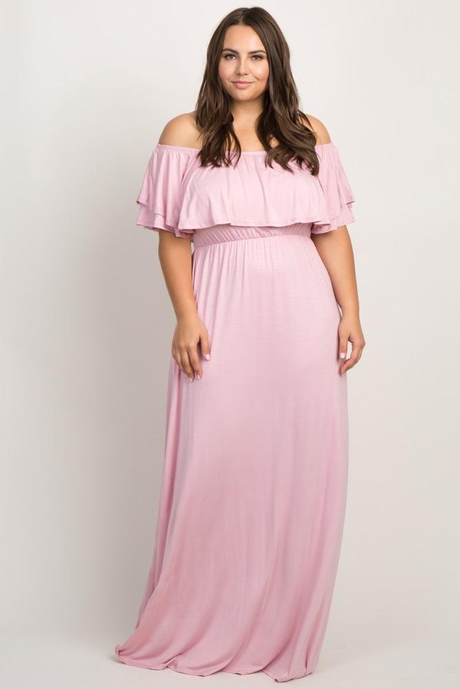 f5098d687122f Pink Off Shoulder Flounce Maternity Plus Maxi Dress