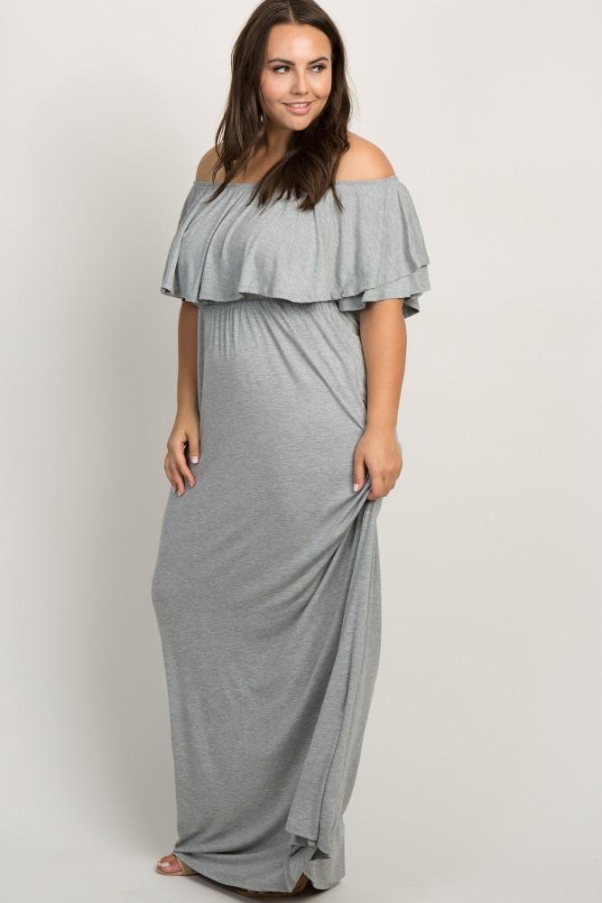 870b21bd04 Grey Off Shoulder Flounce Trim Plus Maternity Maxi Dress
