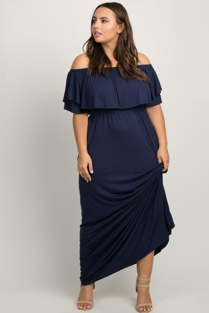 93c06bf447561 Navy Off Shoulder Flounce Maternity Plus Maxi Dress