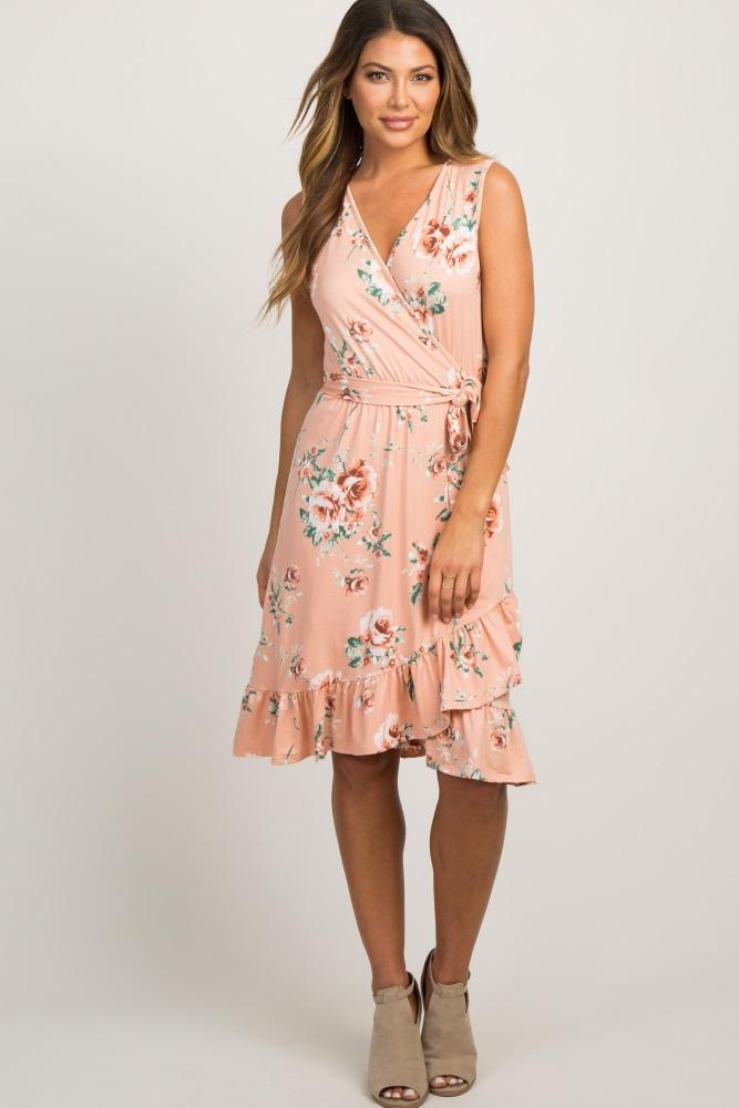 c98602e1d6735 Light Pink Floral Ruffle Hem Waist Tie Maternity Wrap Dress