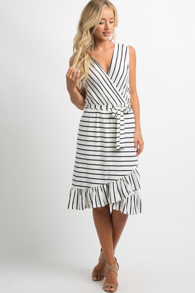 ba6556818 White Striped Ruffle Hem Waist Tie Maternity Wrap Dress