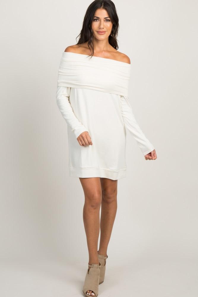 e811d77a97d4c Cream Foldover Off Shoulder Knit Maternity Dress