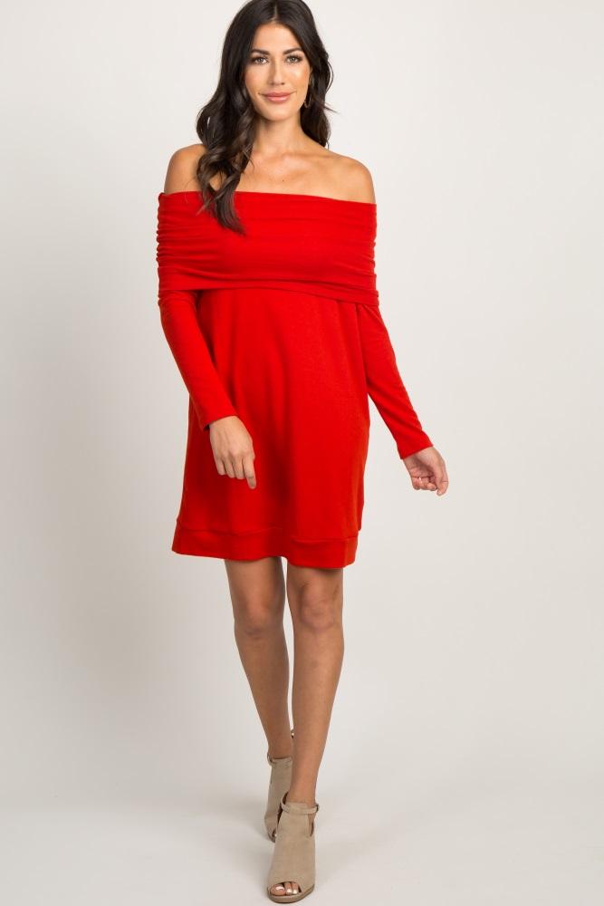 7c35970dadb49 Red Foldover Off Shoulder Knit Maternity Dress