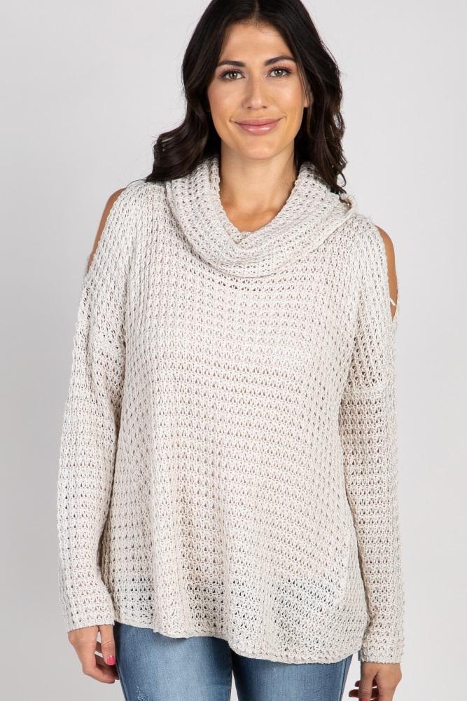b9ea3060546a Beige Open Knit Cowl Neck Maternity Sweater