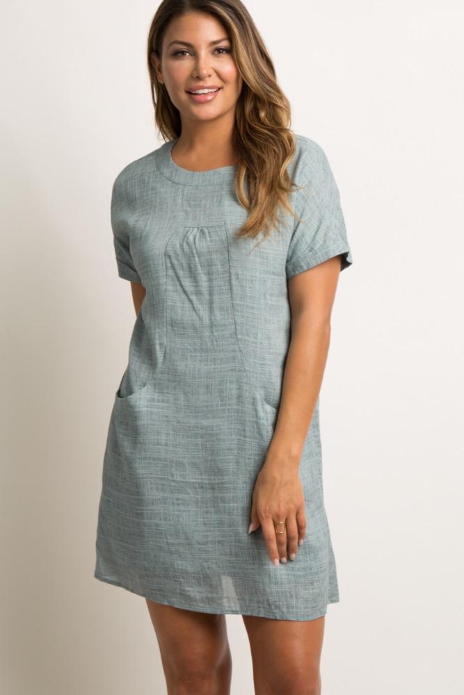 8b3f0c83a7d Grey Linen Pocket Shift Dress