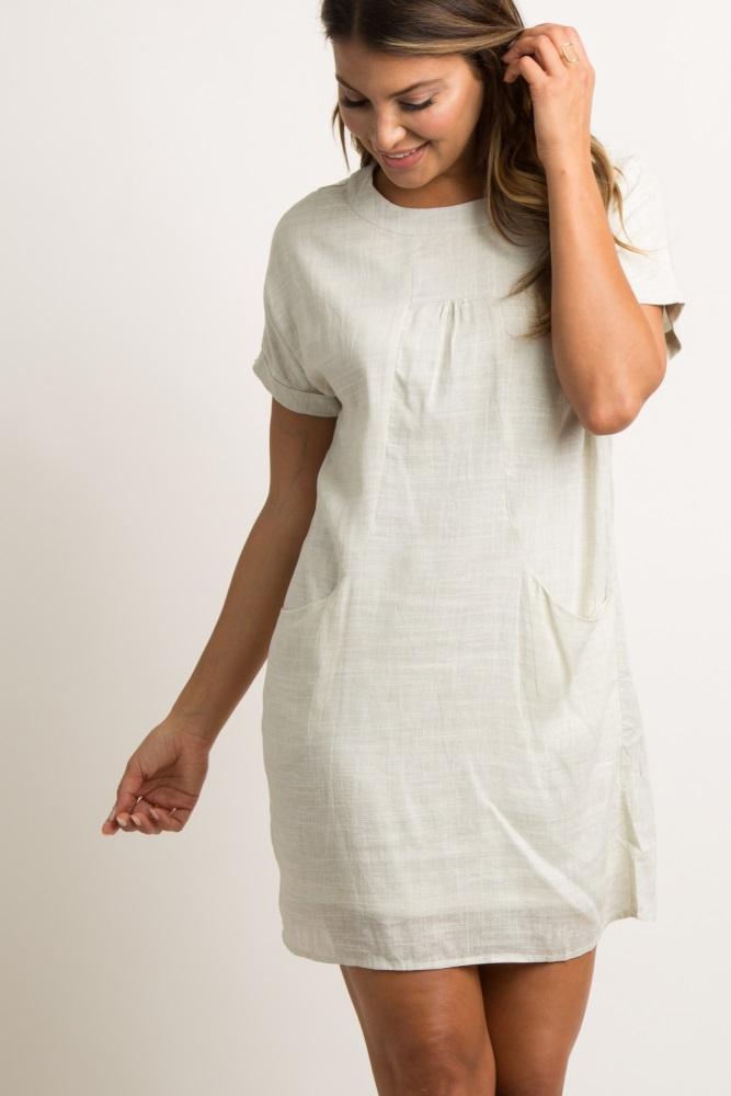7262ebb4be0 Beige Linen Pocket Shift Dress