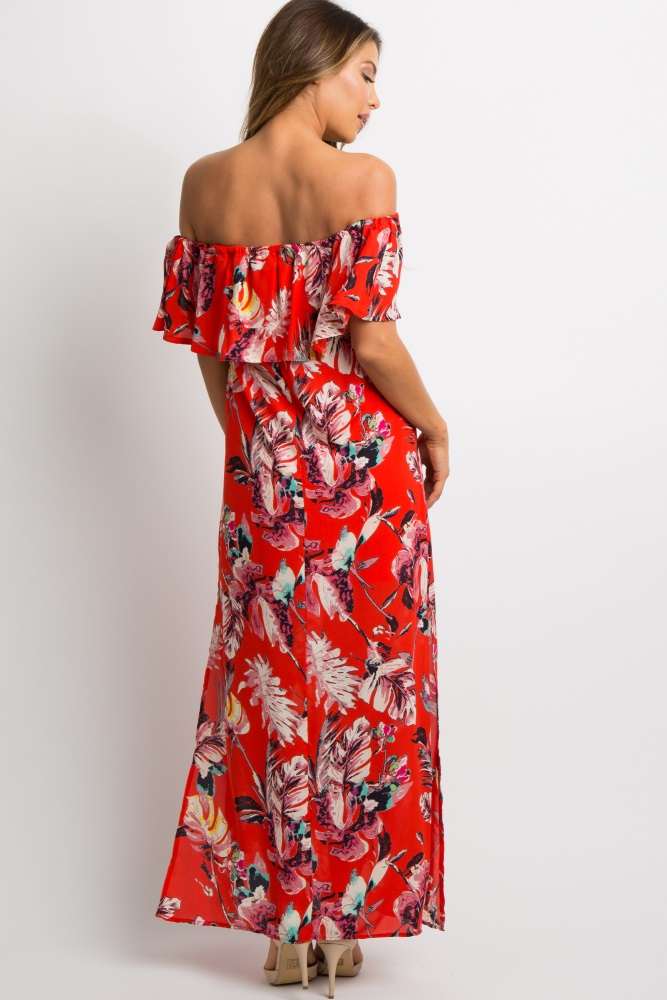 ef61648a32 Red Tropical Off Shoulder Chiffon Maxi Dress