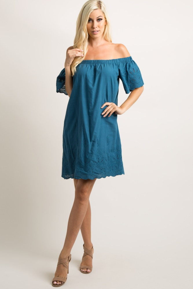 f602a4b5ff4 Blue Embroidered Off Shoulder Maternity Dress