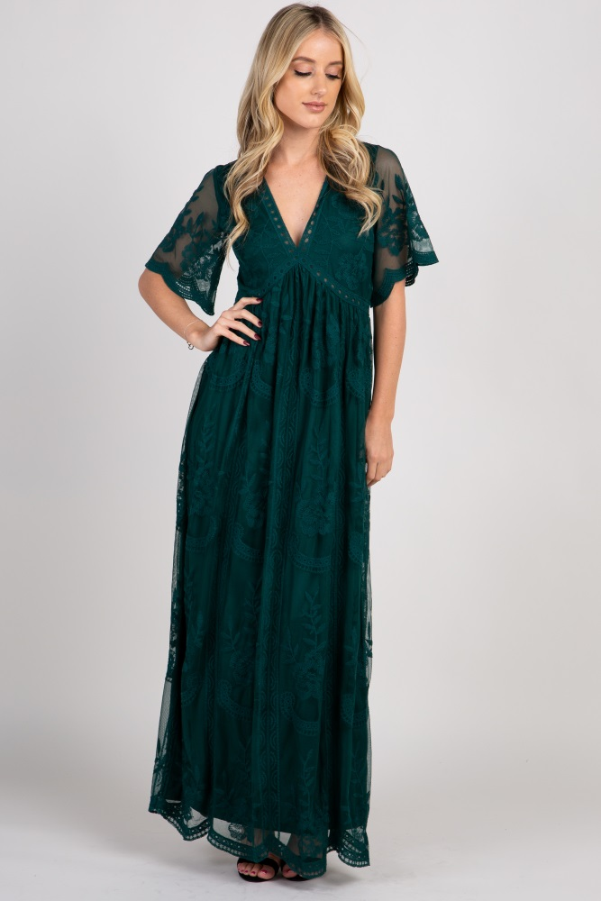f14a9c3177222 Forest Green Lace Mesh Overlay Maternity Maxi Dress