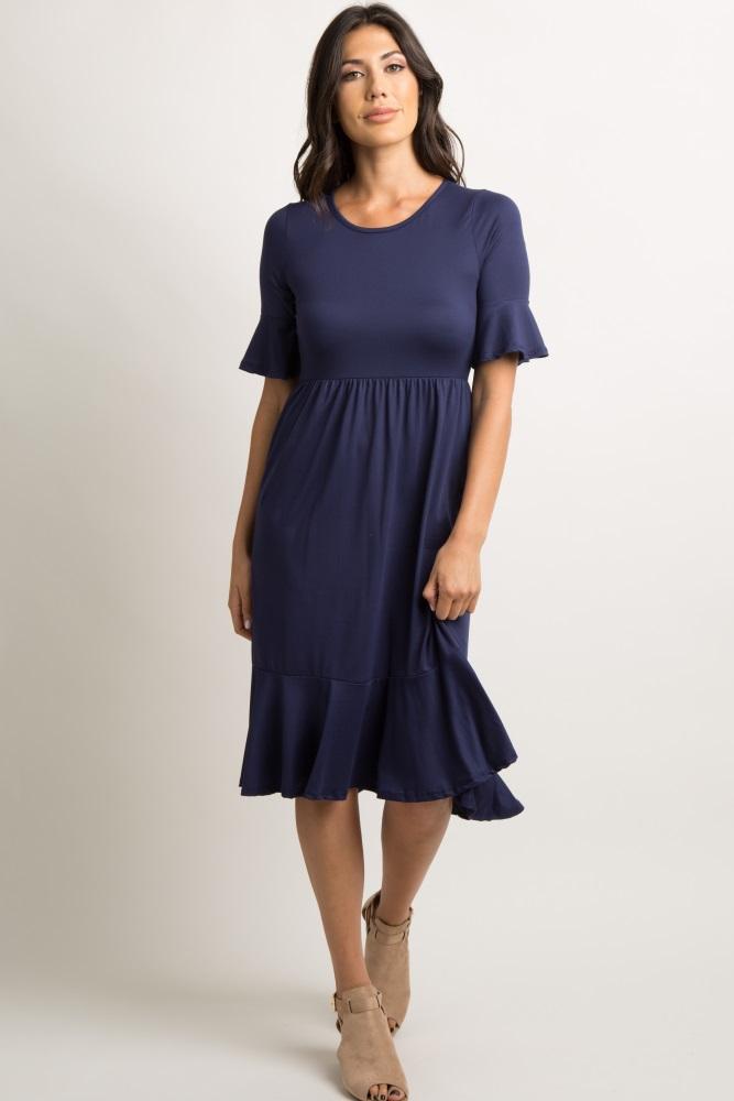 9d4b07eb0ee Navy Blue Solid Ruffle Maternity Dress
