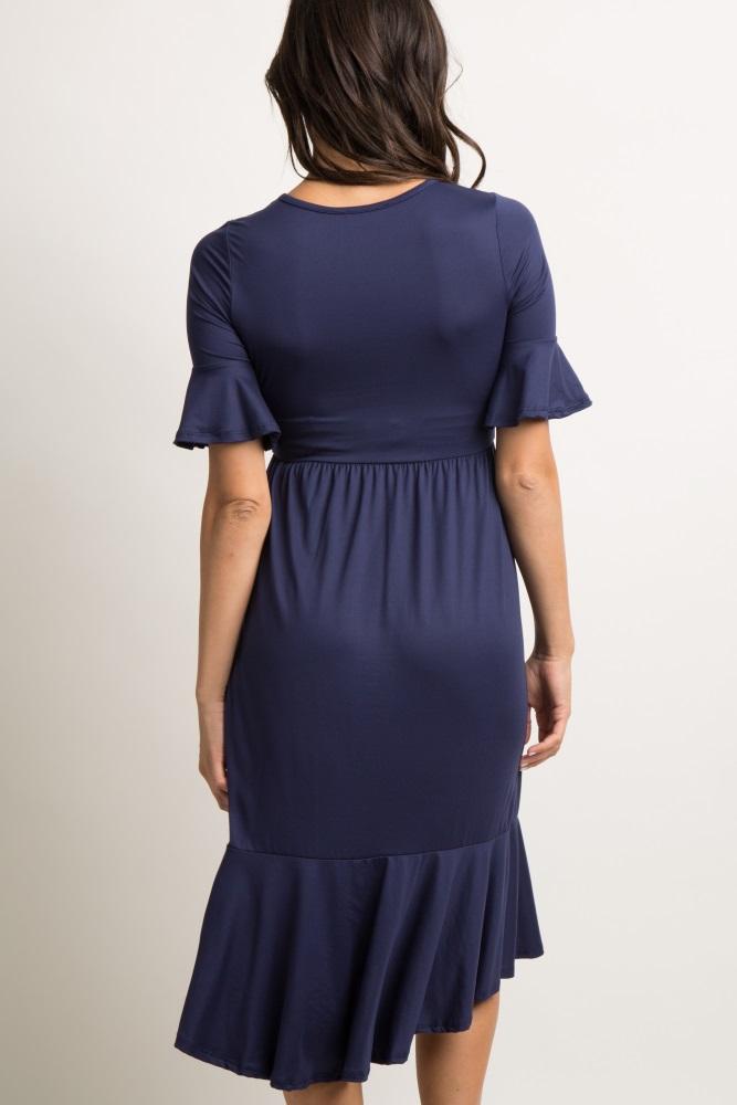 2b190b45455 Navy Blue Solid Ruffle Dress