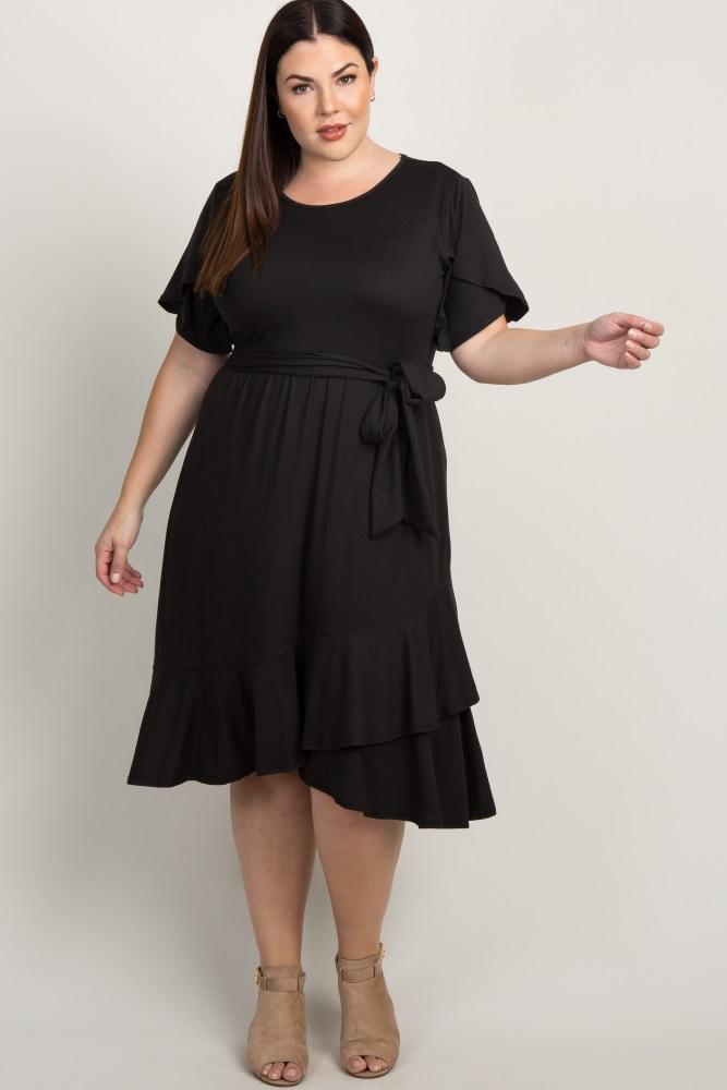 Black Solid Ruffle Accent Wrap Skirt Plus Dress