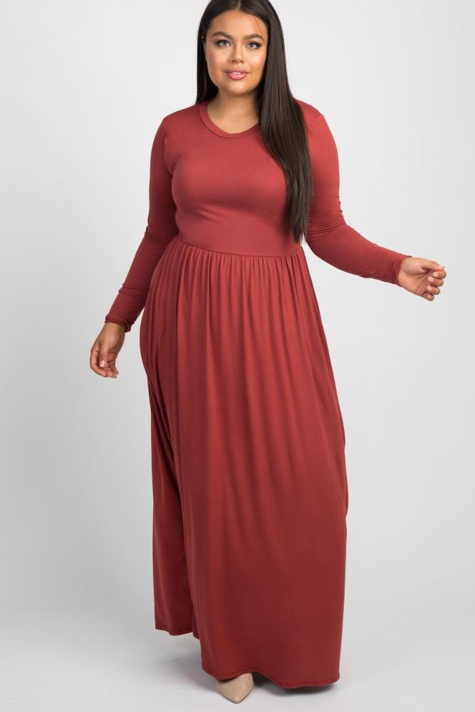 Rust Long Sleeve Plus Maternity Maxi Dress