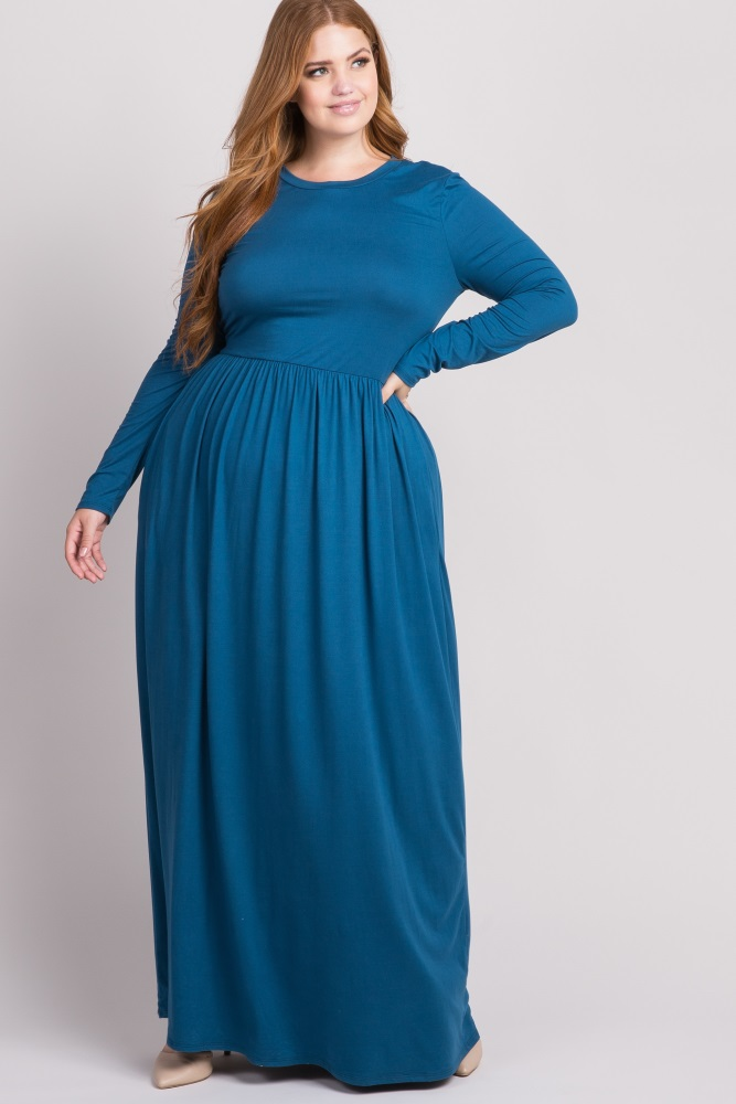 Teal Long Sleeve Plus Maxi Dress