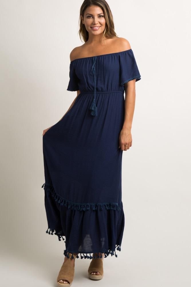 07cb527e5bf8 Navy Blue Off Shoulder Crochet Trim Maternity Maxi Dress
