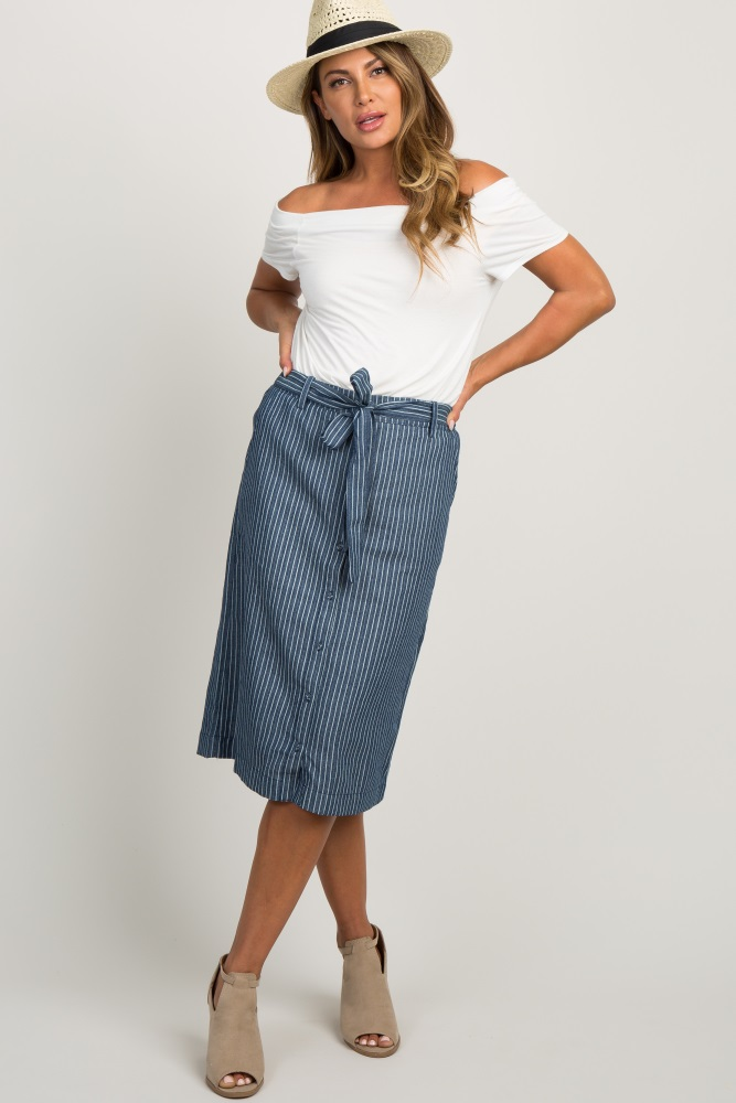 a16748d21be5eb Navy Blue Pinstripe Bow Button Down Maternity Midi Skirt