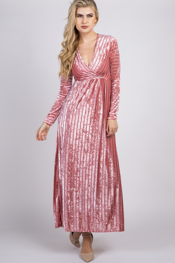 7471616aea Pink Striped Velvet Maternity Maxi Dress