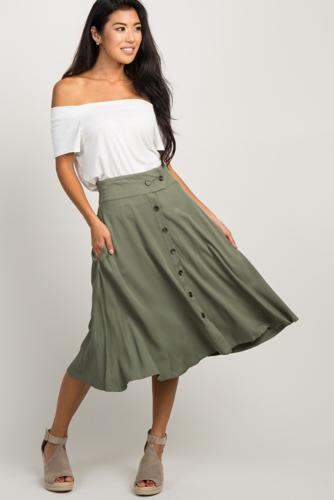 olive button front flare skirt