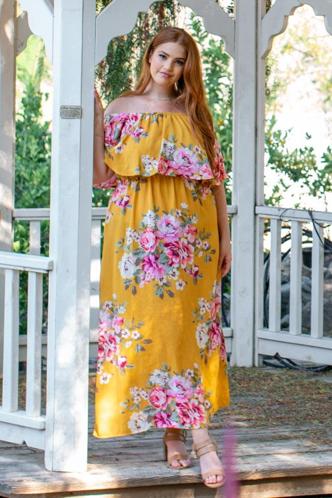 6e16c6db362dd Yellow Floral Off Shoulder Ruffle Plus Maternity Maxi