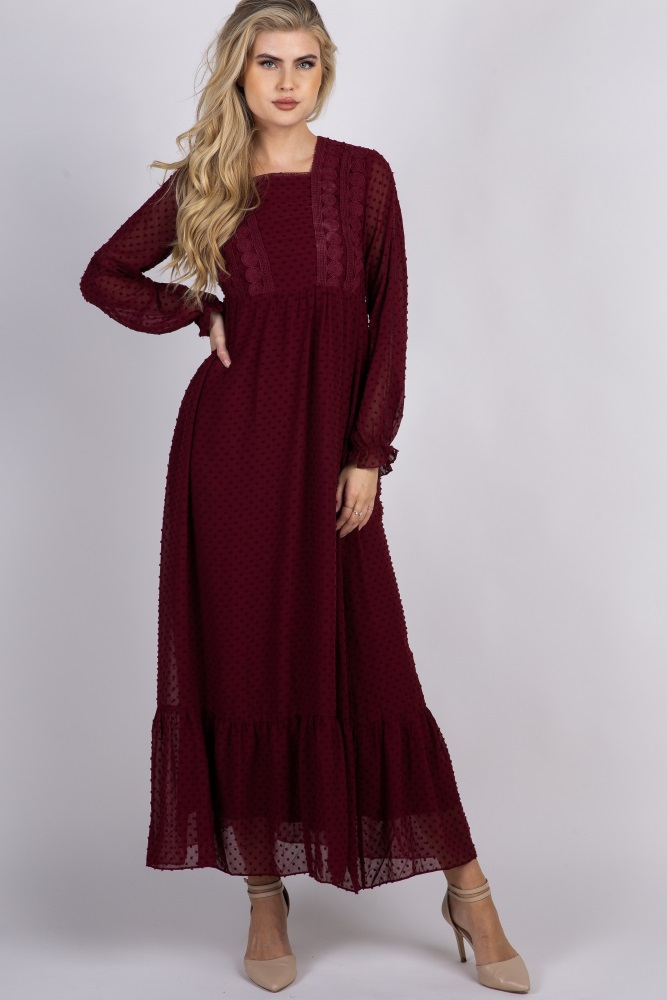 f99f56e6f29 Burgundy Swiss Dot Crochet Accent Chiffon Maternity Maxi Dress