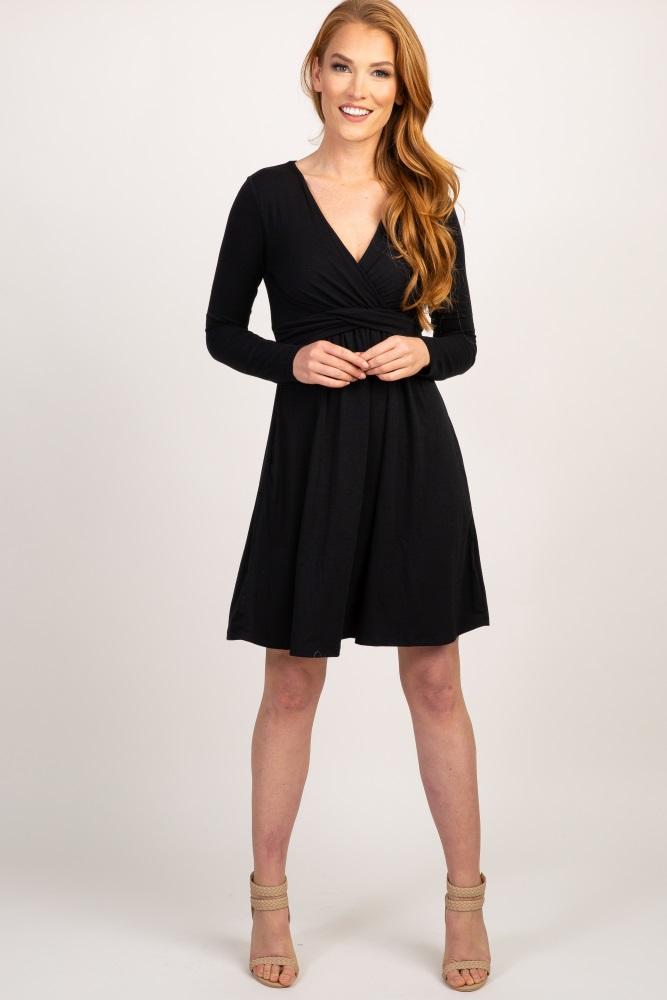 1c9a4de8567 Black Draped Long Sleeve Maternity Nursing Dress