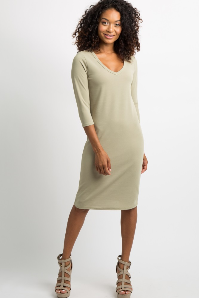 c297cea38c Light Olive V Neck 3 4 Sleeve Fitted Maternity Midi Dress