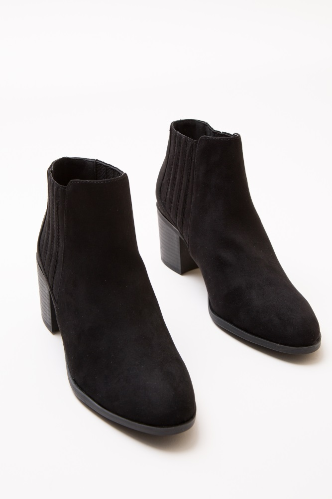 dbbaa674f12 Black Faux Suede Top Stitch Ankle Boot