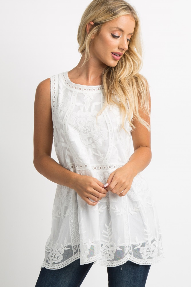 94c100b292a82d White Embroidered Lace Sleeveless Tank Top