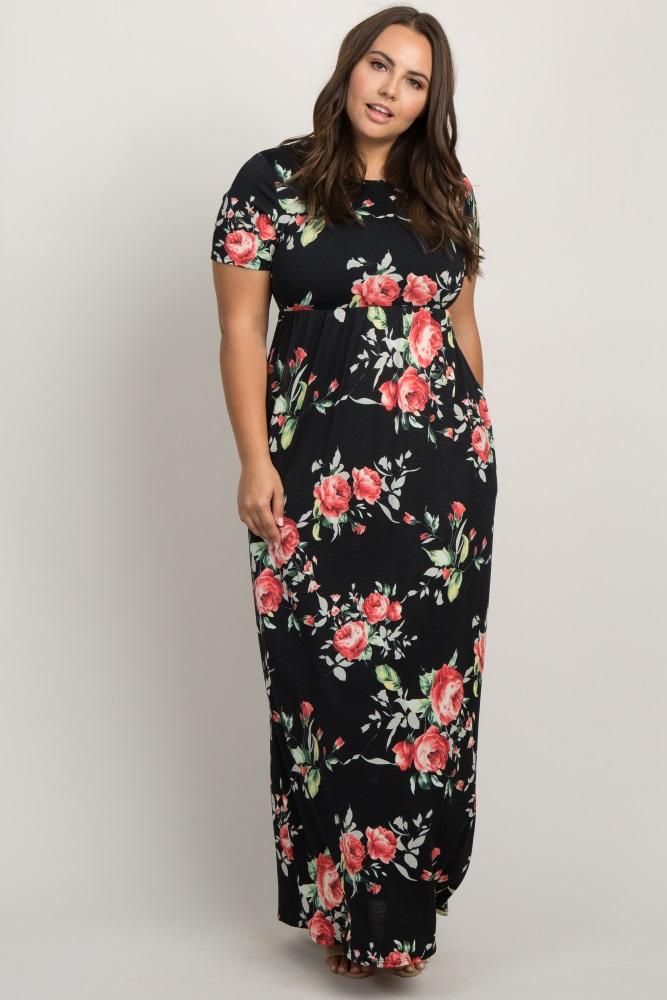 f8ba50bdb37 Black Rose Print Short Sleeve Maternity Plus Maxi Dress