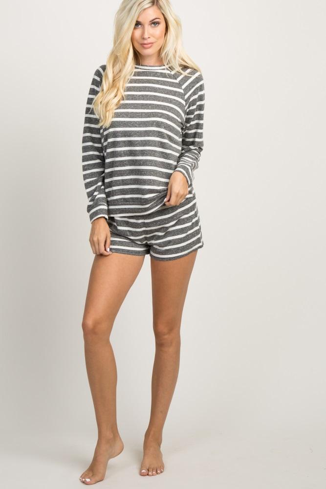 cef365d12 Charcoal Striped Long Sleeve Maternity Pajama Set
