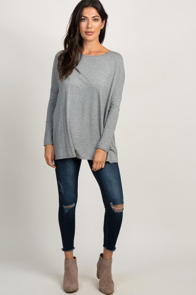 heather grey basic dolman sleeve top