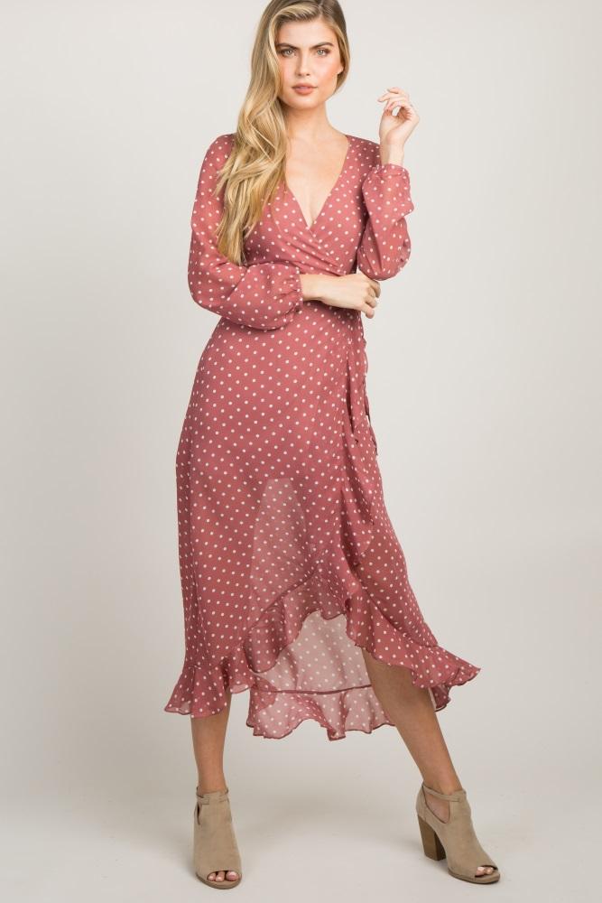 e81f2711603 Mauve Polka Dot Chiffon Ruffle Wrap Maxi Dress