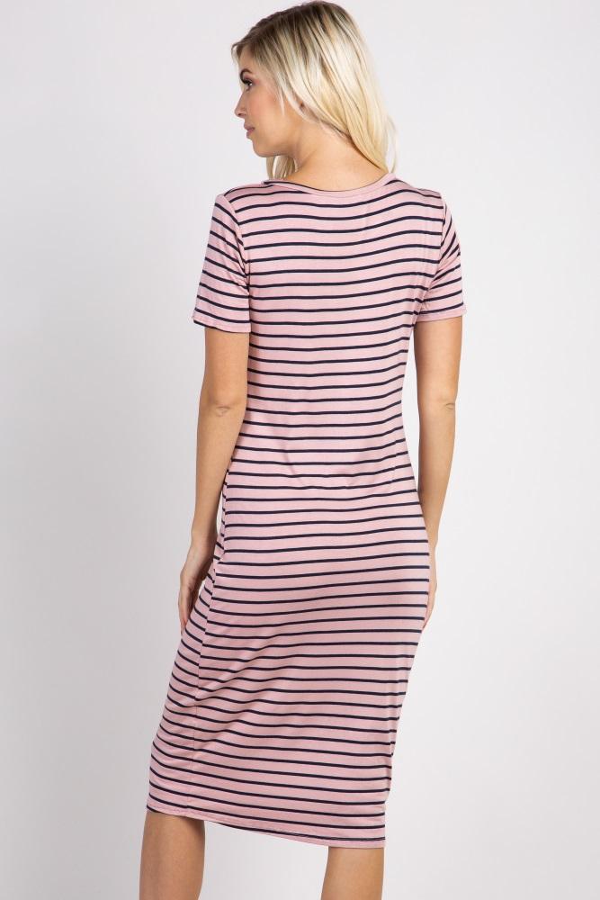96ed466df1a4 Mauve Striped Fitted Maternity Midi Dress