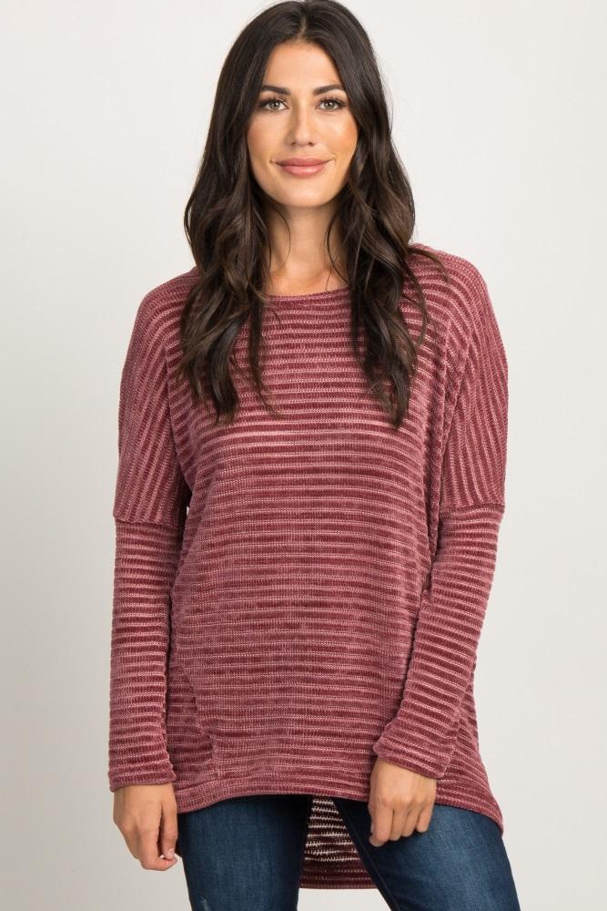 burgundy chenille dolman sleeve sweater
