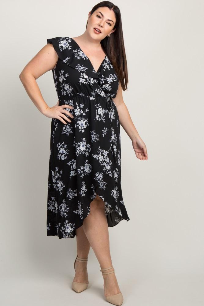 d389d0fadb4 Black Floral Ruffle Accent Hi Low Plus Wrap Midi Dress